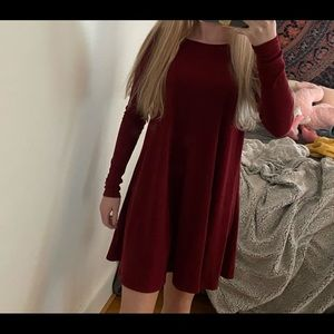 long sleeved red dress